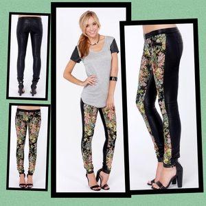 BLANK NYC Vegan Leather & Tapestry Skinny Pants 27